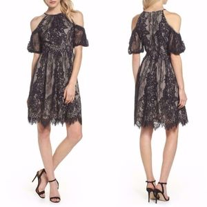 Maggy London BLACK & NUDE Cold Shoulder LACE DRESS